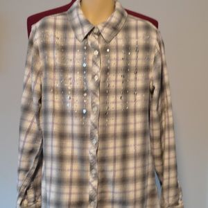 Justice Girls 12 Gray Plaid Flannel Shirt w/Bling